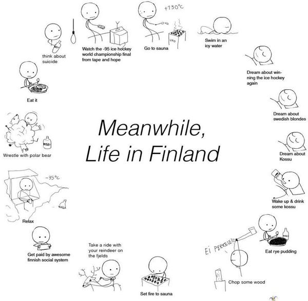 funny infographic cartoon about life in Finland