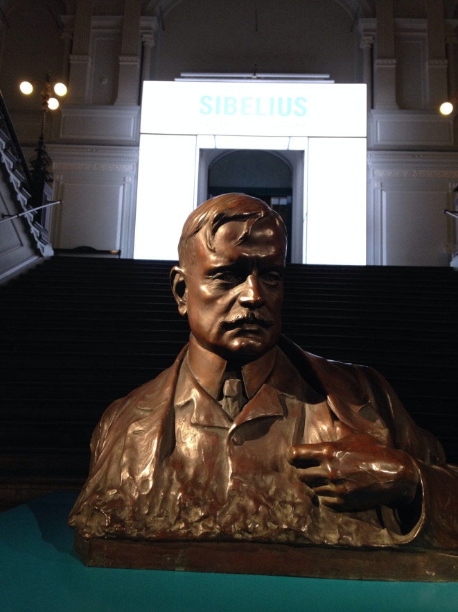 Sibelius bust at the entrance to the exhibit